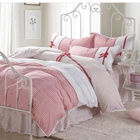 床上用品被枕套     北欧宜家田园韩版床裙款四件套 全棉小碎花床品