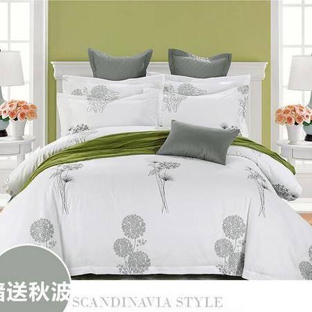 床上用品被枕套   酒店印花全棉喷气四件套高档纯色简约风床单床笠套件