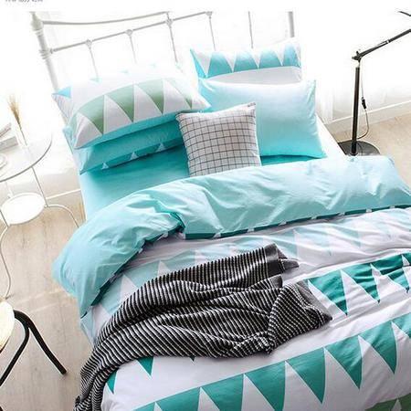 床上用品被枕套     新款简约宜家四件套纯色条纹格子个性风套件