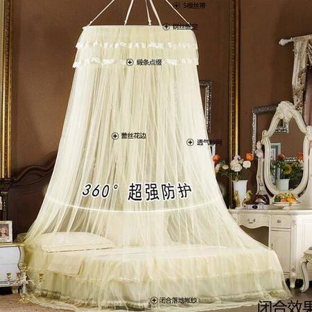 床上用品被枕套 吊顶蚊帐蕾丝花边包塑钢丝支架单开门裸睡透气蚊帐