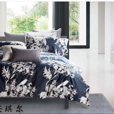 床上用品被枕套    美式全棉60支贡缎埃及长绒棉四件套田园风花卉植物床上用品