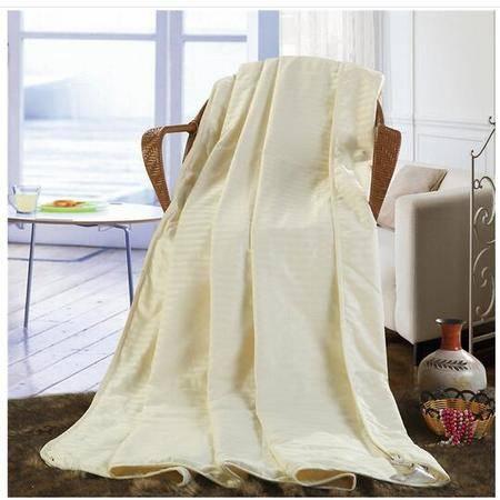 床上用品被枕套     纯棉缎条蚕丝夏被纯棉舒适透气单双人 空调被薄被子