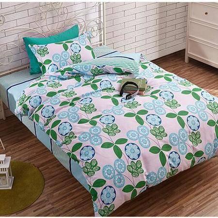 床上用品被枕套     新款全棉三件套单人床上用品套件亲肤透气1.2-1.35米床三件套