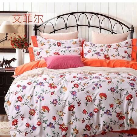 床上用品被枕套     美式时尚简约 四件套欧美田园舒适风AB版套件