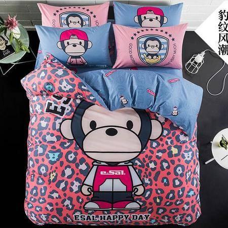 床上用品被枕套     全棉简约时尚卡通床单床上四件套小清新可爱床笠4件套