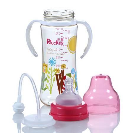 软胶手柄婴儿300ML 弧形带柄奶瓶 有耳自动PPSU奶瓶
