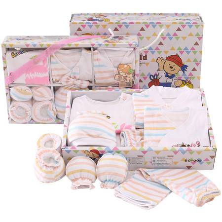 春夏新生儿礼盒10件套纯棉婴儿内衣母婴用品初生满月宝宝套装