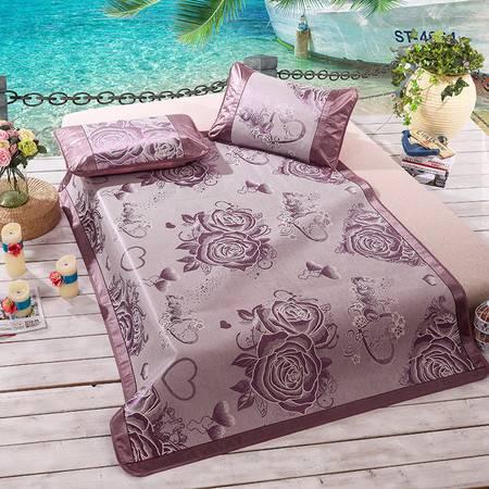 家纺 床品新款提花冰丝席 玫瑰情紫
