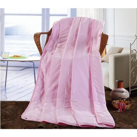 家纺 床品纯棉缎条蚕丝空调被