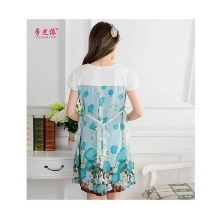 新款孕妇装连衣裙 韩版短袖时尚花边领孕妇裙子中长款