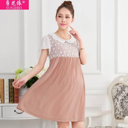 新款孕妇装夏装连衣裙 夏季雪纺孕妇裙子 韩版时尚孕妇装