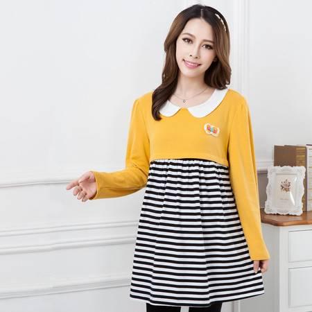 春秋新款孕妇装上衣 孕妇哺乳衣月子服 韩版时尚条纹针织衫