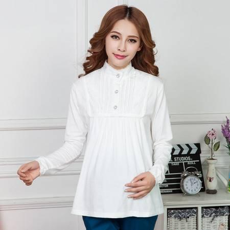 立领孕妇装春装上衣韩版春季孕妇T恤时尚纯棉长袖孕妇打底衫