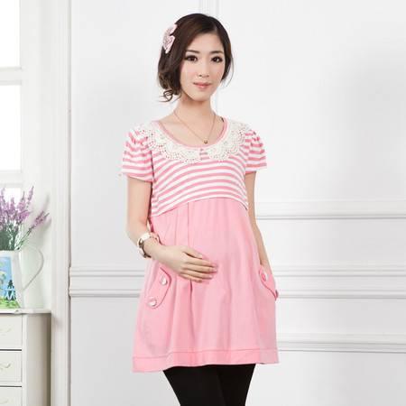 韩版时尚孕妇装 夏装短袖外穿哺乳衣 纯棉条纹喂奶衣