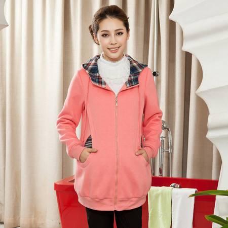 时尚孕妇装冬装加绒上衣 韩版保暖孕妇冬装外套 加厚孕妇卫衣