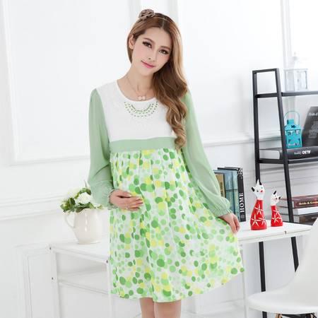 装春装时尚新款 春夏长袖孕妇裙 韩版 孕妇雪纺裙连衣裙
