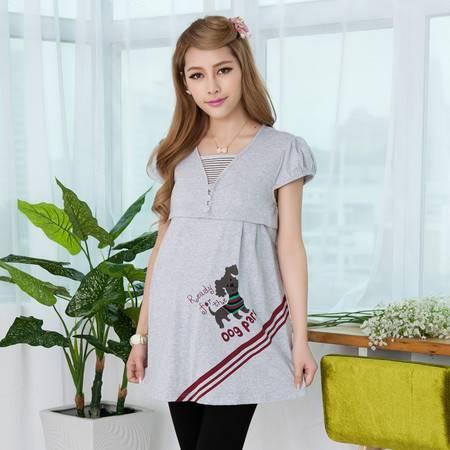 新款孕妇装时尚韩版夏装外出哺乳衣V领短袖孕妇上衣纯棉孕妇t恤衫