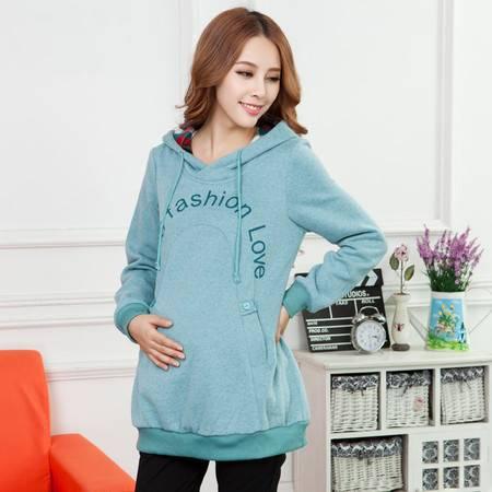韩版时尚孕妇装秋冬新款 加厚加绒孕妇连帽卫衣 孕妇装卫衣