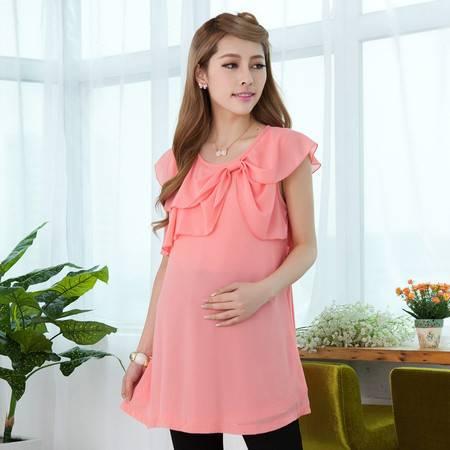 孕妇装时尚韩版 夏装雪纺孕妇上衣 短袖孕妇衫