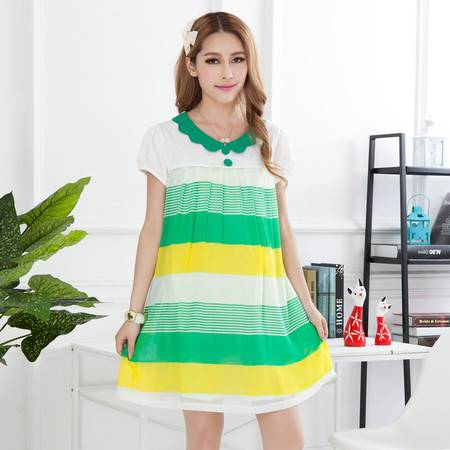 春夏装 夏季孕妇连衣裙 韩版短袖孕妇装 时尚孕妇裙长裙