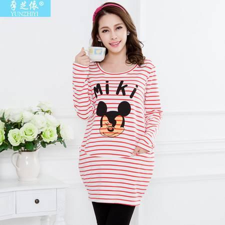 春秋新款上衣T恤韩版纯棉孕妇装时尚长款长袖卡通
