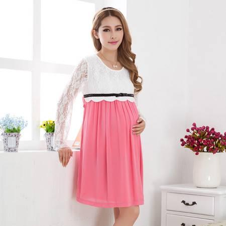 新款长袖孕妇裙 时尚气质孕妇装 舒适春夏装 百褶雪纺裙