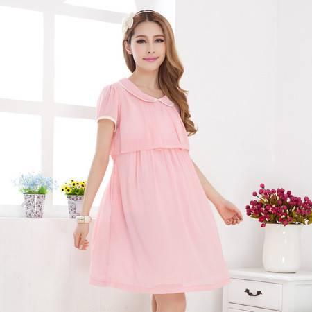 假两件孕妇夏装 韩版孕妇装连衣裙 彼得潘领雪纺孕妇裙长裙