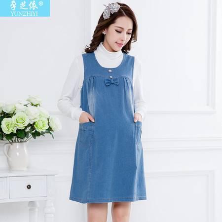 装新款孕妇无袖牛仔背心裙 韩版时尚大码孕妇连衣裙
