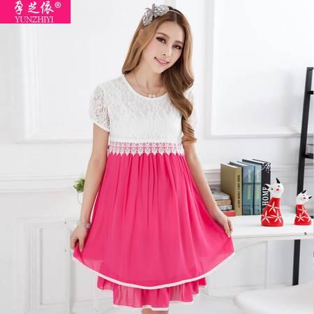 装新款连衣裙夏 韩版蕾丝圆领孕妇裙 夏季外贸短袖孕妇装