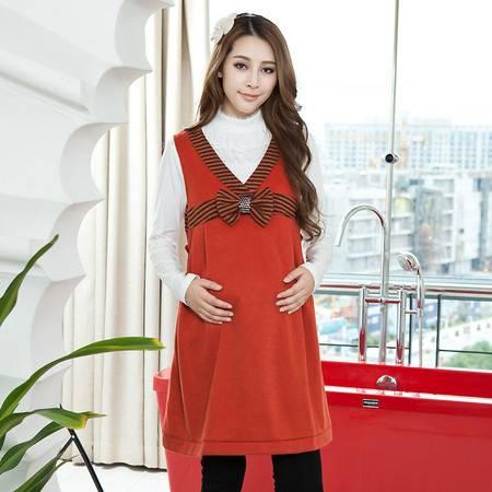 秋装新款韩版孕妇装 V领孕妇连衣裙 宽松孕妇裙子 韩版时尚背心裙