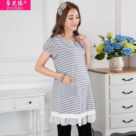 孕妇装夏季新款条纹针织衫 外贸出口韩版翻领孕妇上衣薄款