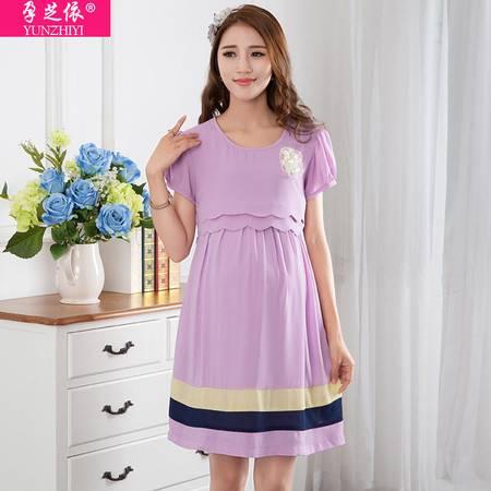 孕妇雪纺连衣裙夏装大码短袖拼接 韩版新款孕妇裙夏外贸中长款