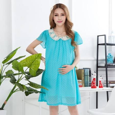 夏季孕妇装连衣裙 雪纺孕妇裙夏天 孕妇夏装连衣裙 时尚韩版