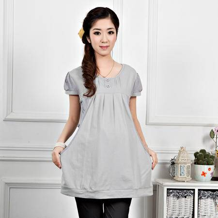 外贸出口马来西亚时尚孕妇夏装哺乳衣外出纯棉月子服喂奶衫