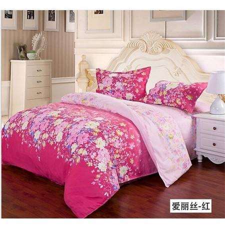 床上用品被枕套春夏床上用品四件套田园印花钻石绒四件套南通家纺出口