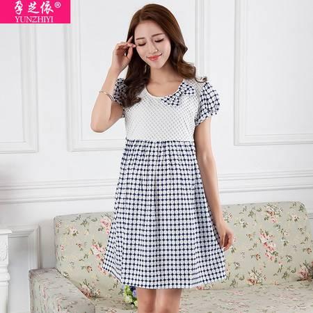 外贸孕妇雪纺连衣裙短袖夏季 新款韩版时尚孕妇裙圆领上衣