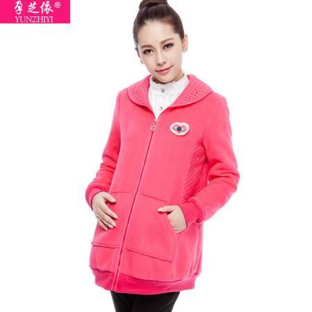 孕妇装秋冬韩版时尚加绒加厚外套开衫 新款冬装保暖孕妇上衣