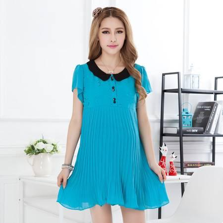 新款孕妇装孕妇裙 夏装韩版连衣裙 时尚雪纺 大码压皱裙