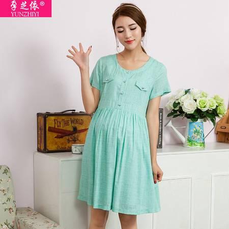 外贸出口孕妇夏装新款 韩版时尚连衣裙大码短袖薄款孕妇裙子夏
