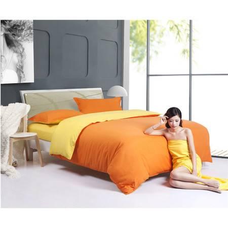 床上用品被枕套四件套素色双拼四件套 运动纯色四件套