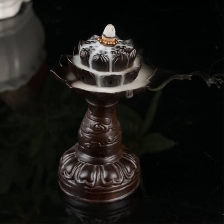 工艺黑檀实木倒流香炉宝莲灯办公室家居大号创意摆件宝塔香线香炉盘香炉
