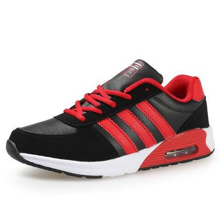 新款韩版三条杠运动鞋男生皮面青年休闲鞋气垫跑步鞋黑色