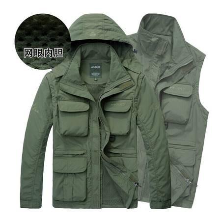 新款男装户外休闲冲锋上衣正品网里风衣多袋速干马甲外套