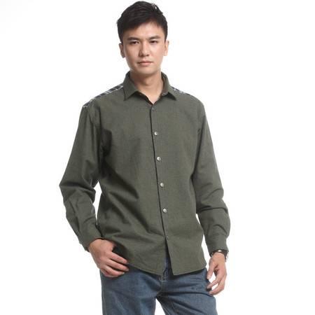 衬衫春装新品长袖加厚纯棉衬衫男韩版潮流全棉两面穿衬衣
