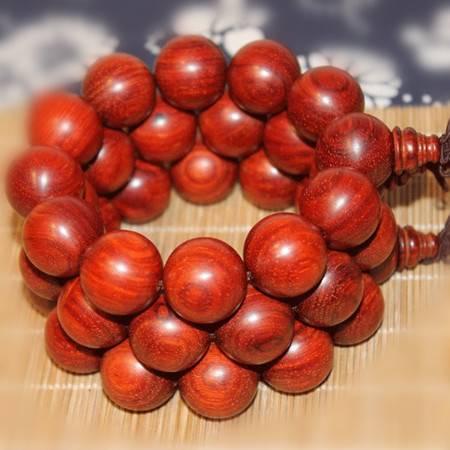 正宗印度小叶紫檀高油高密树头料鸡血红2.0*12颗佛珠手串