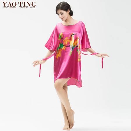 品牌仿真丝绸睡裙 春夏季女士短袖加肥加大码家居睡裙
