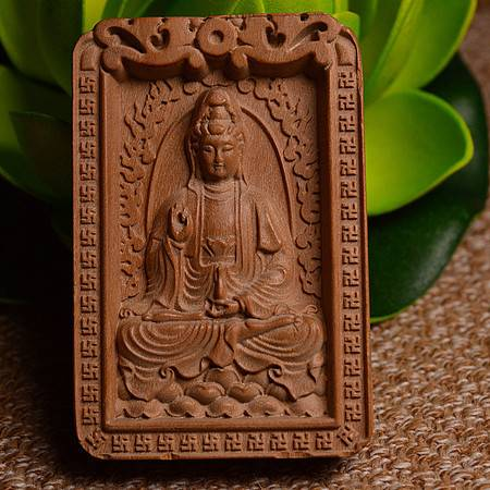 正宗印度老山檀香单面雕刻观音菩萨461护身符平安无事牌