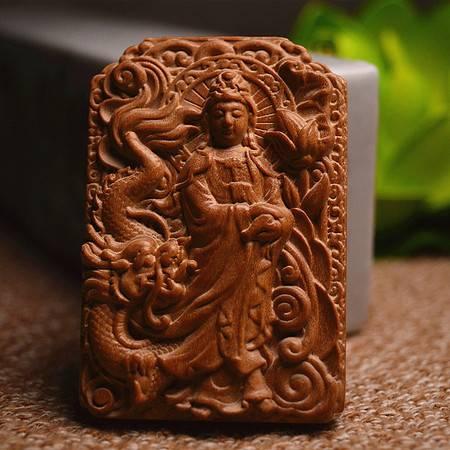 正宗印度老山檀香单面雕刻自在观音菩萨461护身符平安无事牌