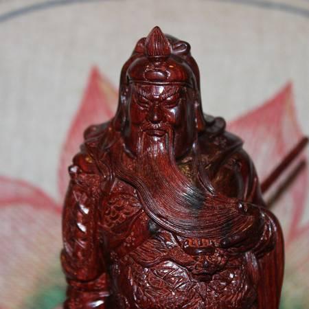 正宗印度小叶紫檀高油高密老料纯手工雕刻关公木雕工艺摆件23cm