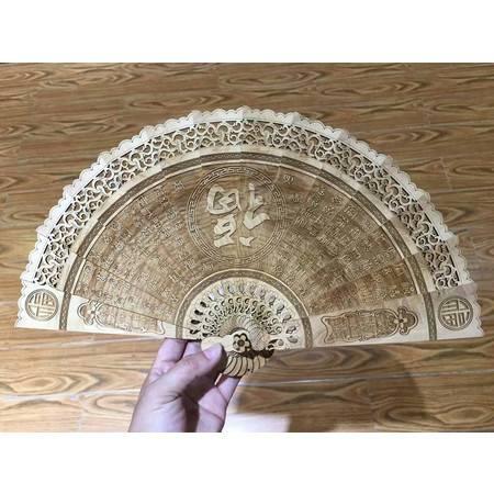 崖柏折扇太行料实木雕刻中国风格工艺礼品摆件 9款图案22cm